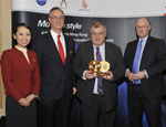 Queen Mary's Professor Laurie Cuthbert (centre) accepts the New Horizons award from Angus Barclay, General Manager Europe for Cathay Pacific (centre left) and Douglas Flint, Group Chairman of HSBC (centre right) at the Cathay Pacific China Business Awards