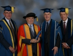 Sir Sam Everington with Sir Nicholas Montagu, Professor Richard Trembath, and President and Principal Simon Gaskell