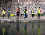 Students clearing litter from the canal