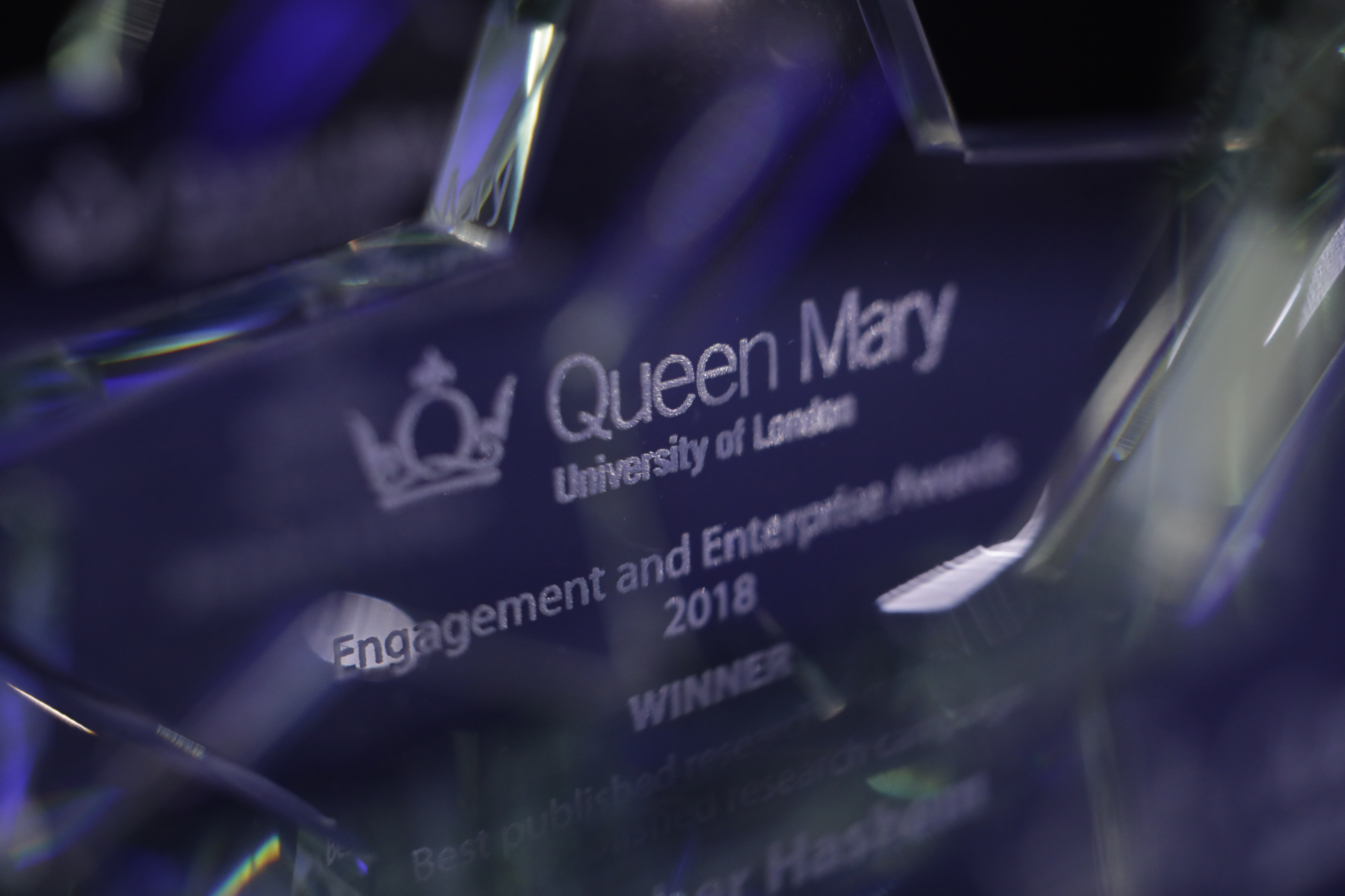 A glass trophy from the Engagement and Enterprise Awards 2018