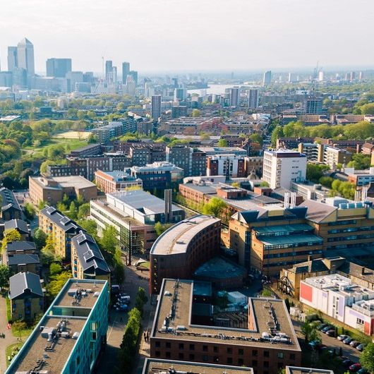 Aerial view of the Queen Mary University of London campus