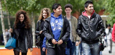 Students on campus at the Open Day