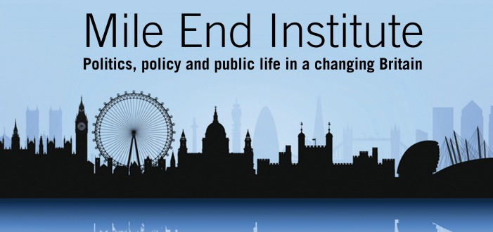 skyline of london, mile end institute banner and logo