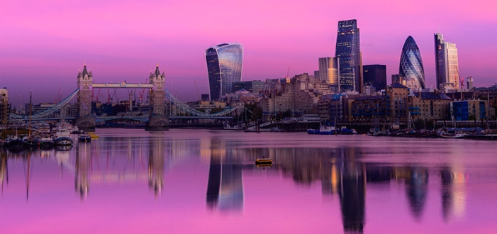 London Skyline in pink background