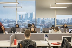 graduate students studying in individual study booths