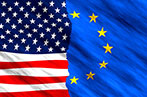 Image with half USA and half EU flags