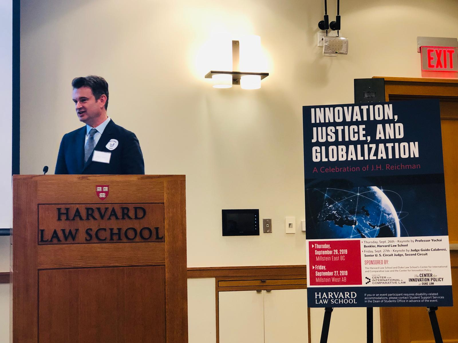 Professor Duncan Matthews speaks at Harvard Law School during the conference in honour of Professor Jerome H. Reichman on 26 September 2019