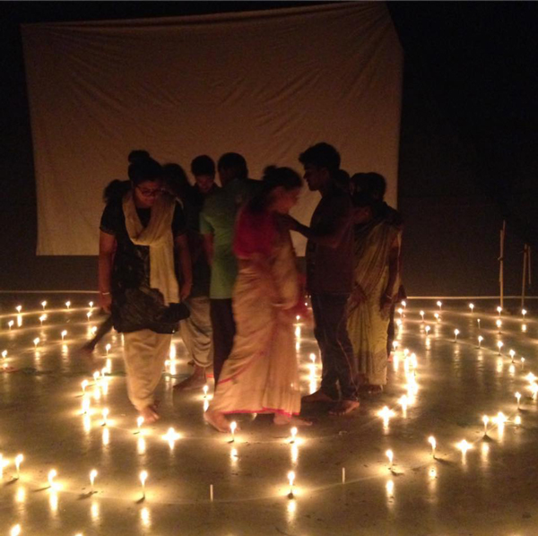 SED Ali Campbell Creating a Labyrinth in the Augusto Boal Auditorium with Jana Sanskriti Theatre Co., Badu, Kolkata.