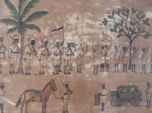 Painting owned by the National Museum of Tanzania in Dar-es-Salaam. It depicts the transfer of power in former German East Africa to the British at the end of the First World War.