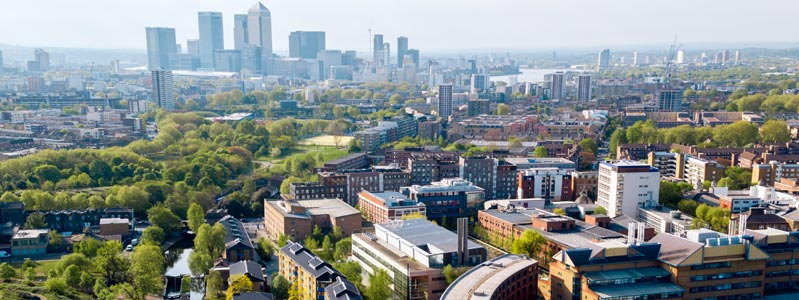 Aerial photograph of QMUL campus in Mile End