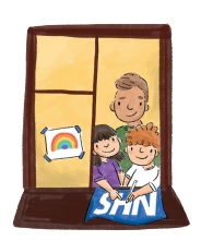 Image showing 2 children and an adult in a window with a rainbow poster in the window and drawing an NHS support poster