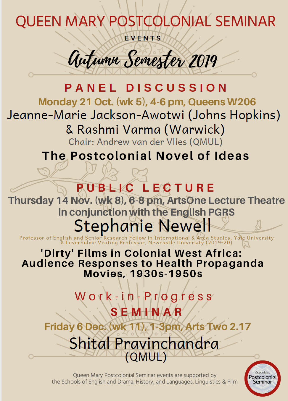 poster for the autumn 2019 postcolonial seminar series