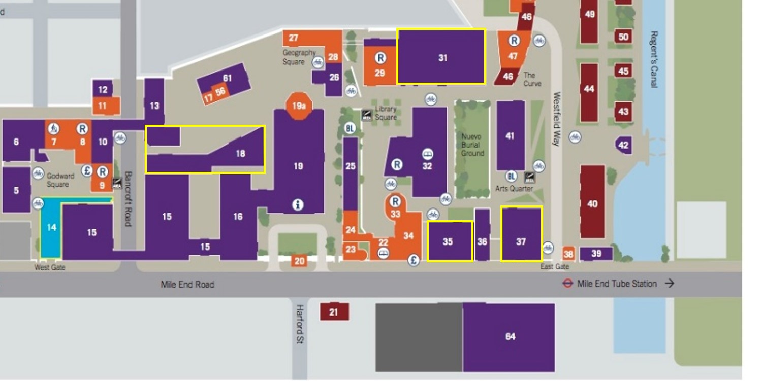 A cropped map of the Mile End campus, highlighting buildings that the linguistics department uses the most