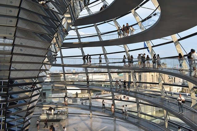 Inside the dome of the Berlin Reichstag building