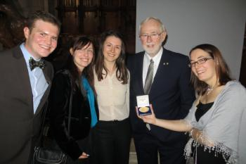 Members of the QMUL SNO+ group attend a Nobel banquet to celebrate the Nobel Prize 2015 awarded to Art MacDonald