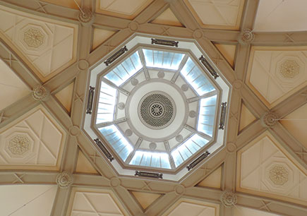 The ceiling of the Octagon at Queen Mary University of London.