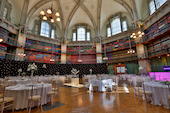 An image of the Octagon at Queen Mary University of London set up for a function or wedding