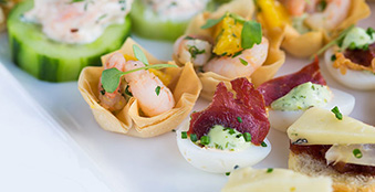 Wedding canapes on a plate